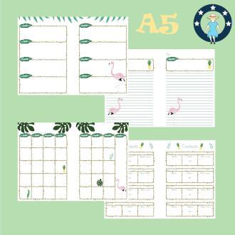 Kit printables tropical flamants roses et ananas pour planner A5 non datés français