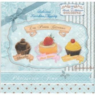 4 Serviettes en papier Petits Gâteaux Cupcakes Format Cocktail