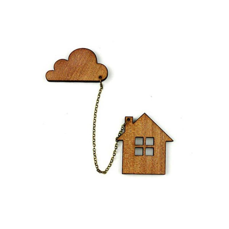 Kit broche bois naturel maison nuage perles bois creavea for Avis maison ossature bois