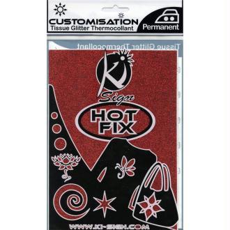 Tissu Thermocollant paillette Rouge 15 x 20 cm
