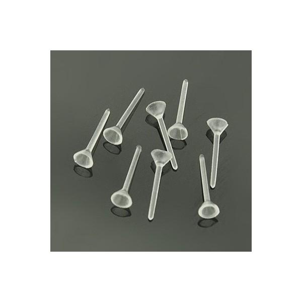Clous 50x D'oreilles Supports Allergique Boucles Plastique Translucide Anti PkXiuZO
