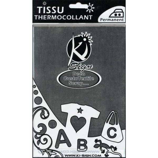 Tissu Thermocollant métal Argent 15 x 20 cm - Photo n°1