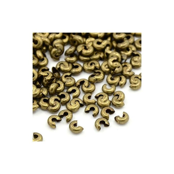 Perles Cache-Noeud 3mm BRONZE ANTIQUE - Photo n°1