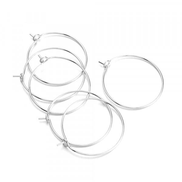 10 anneaux créoles 25mm laiton Argenté - Photo n°2