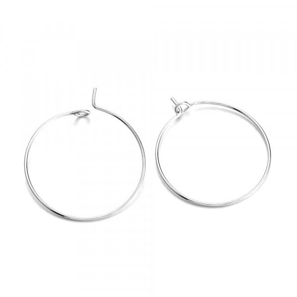10 anneaux créoles 25mm laiton Argenté - Photo n°1