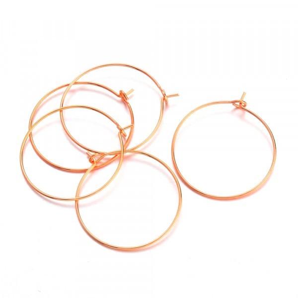 10 anneaux créoles 25mm laiton Or Rosé (Rose Gold) - Photo n°2
