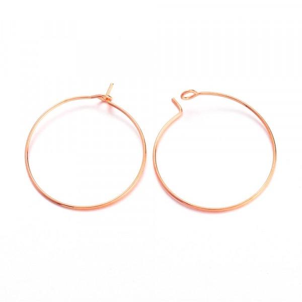 10 anneaux créoles 25mm laiton Or Rosé (Rose Gold) - Photo n°1