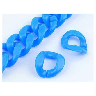 10X maillons Chaine Plastique 23x16mm BLEU TURQUOISE