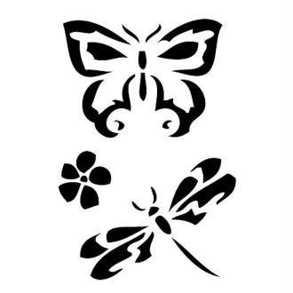 Pochoir adhésif pour customisation Papillon et libellule 7 x 10 cm