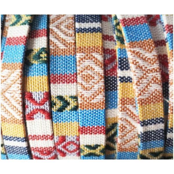 50cm Lacet / Cordon Plat Ethnique Tissu Coton 10mm - BEIGE - Photo n°2
