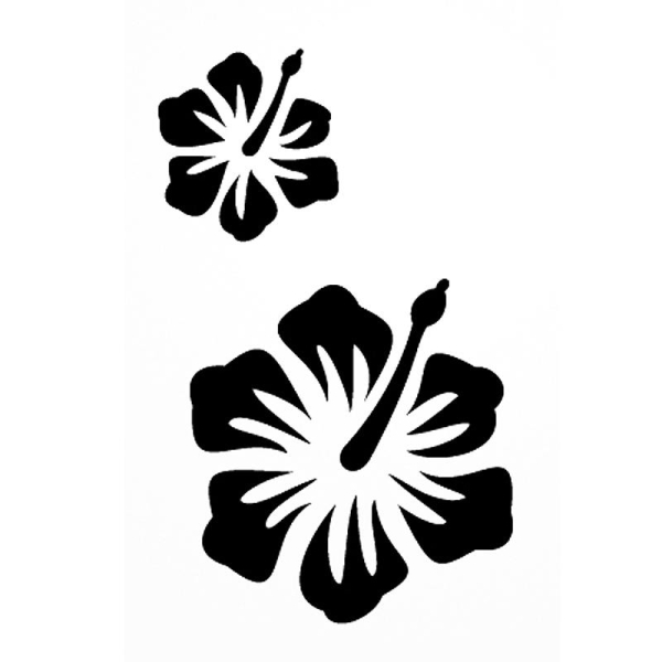 Pochoir adhésif pour customisation Hibiscus 7 x 10 cm - Photo n°1
