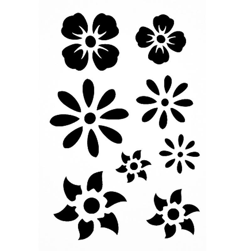 Pochoir Adhésif Pour Customisation Fleurs 7 X 10 Cm Pochoir Pour