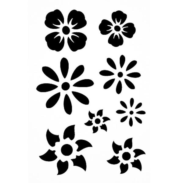 Pochoir adhésif pour customisation Fleurs 7 x 10 cm - Photo n°1