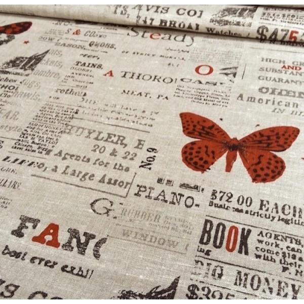 Tissu Mr Hyde fond coloris lin naturel - Papillons rouge et noir - 100% Lin 34df168ef41e