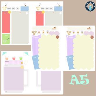 Kit printables recettes pour planner A5 entrées, plats, desserts et boissons