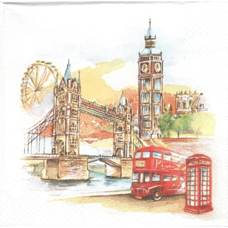 4 Serviettes en papier Londres aquarelle Format Lunch