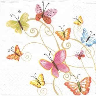 4 Serviettes en papier Papillons Multicolores Format Lunch