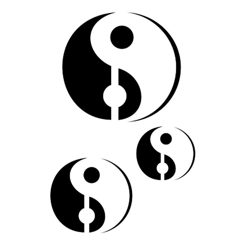 pochoir adh sif pour customisation ying et yang 7 x 10 cm pochoir pour tatouage creavea. Black Bedroom Furniture Sets. Home Design Ideas