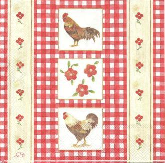 4 Serviettes en papier Coq Campagnard Format Lunch