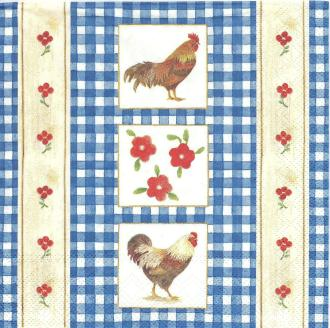 4 Serviettes en papier Coq Campagnard Format Cocktail