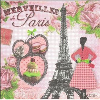 4 Serviettes en papier Merveilles de Paris Format Lunch