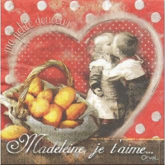 4 Serviettes en papier Madeleine Je t'aime Format Lunch