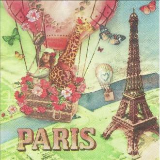 4 Serviettes en papier Paris vu du ciel Format Lunch
