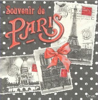 4 Serviettes en papier Souvenir de Paris Format Lunch