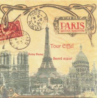4 Serviettes en papier Paris Monuments Format Lunch