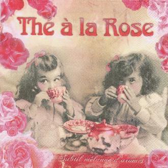 4 Serviettes en papier Thé à la Rose Format Lunch
