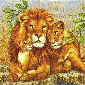 4 Serviettes en papier Famille Lion Format Lunch