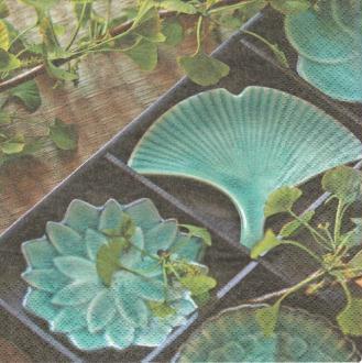 4 Serviettes en papier Asie Lotus Format Lunch
