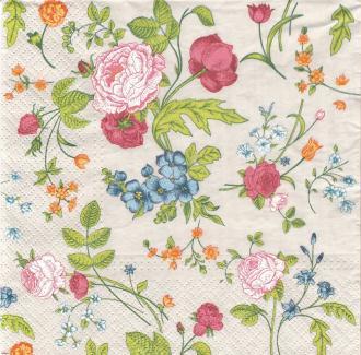 4 Serviettes en papier Petites fleurs Roses Format Lunch