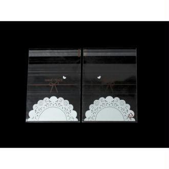 100 Sachets Autocollants Transparents Handmade 14x10cm