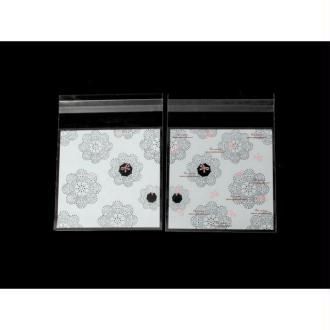 100 Sachets Autocollants Fleurs Noires Et Blanches 13x9.9cm