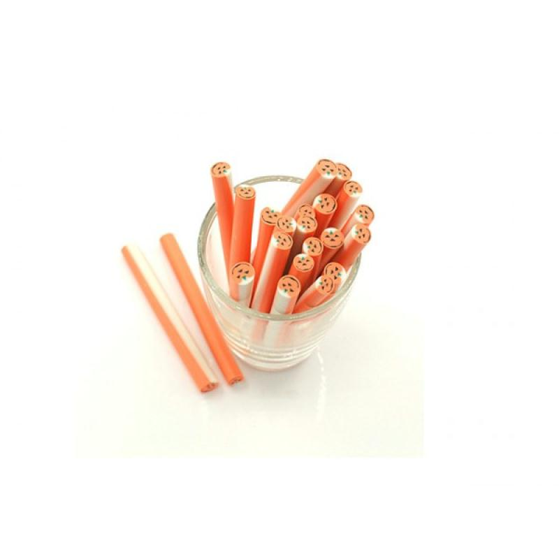 10 canes p te fimo citrouille halloween 5cm canes fimo creavea. Black Bedroom Furniture Sets. Home Design Ideas