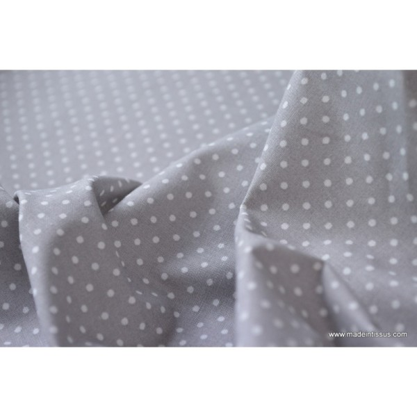 Tissu Popeline coton imprimé petit pois - Photo n°4