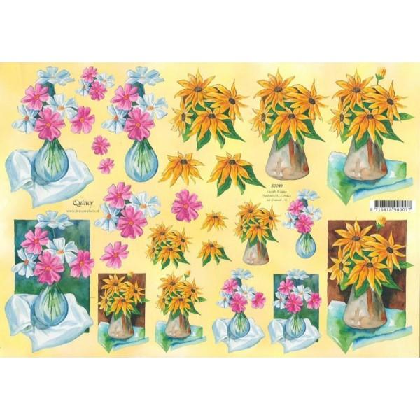 Feuille 3D à découper A4 Bouquet de Fleurs - Photo n°1