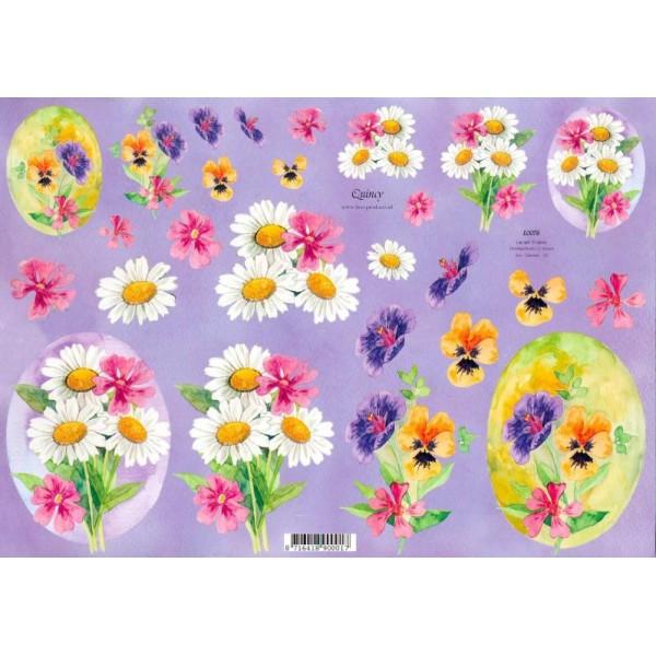 Feuille 3D à découper A4 fleur Marguerite Pensée - Photo n°1