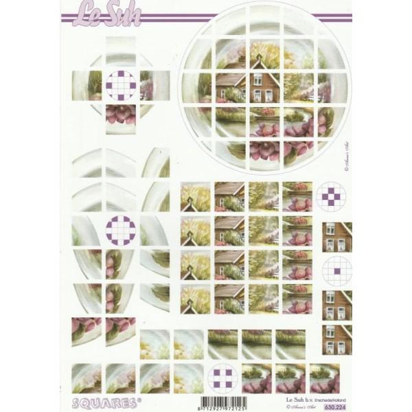 Feuille 3D Squares à découper A4 Paysage Maison Jardin - Photo n°1