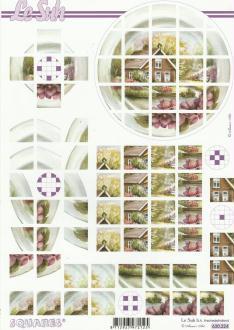 Feuille 3D Squares à découper A4 Paysage Maison Jardin