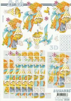 Feuille 3D Squares à découper A4 Anniversaire 1 an Nounours