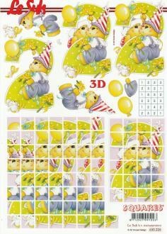 Feuille 3D Squares à découper A4 Anniversaire 2ans Nounours