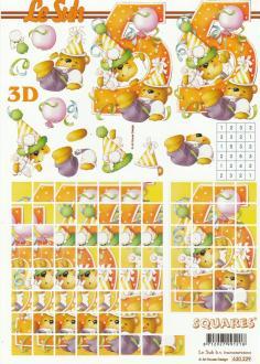 Feuille 3D Squares à découper A4 Anniversaire 5 ans Nounours