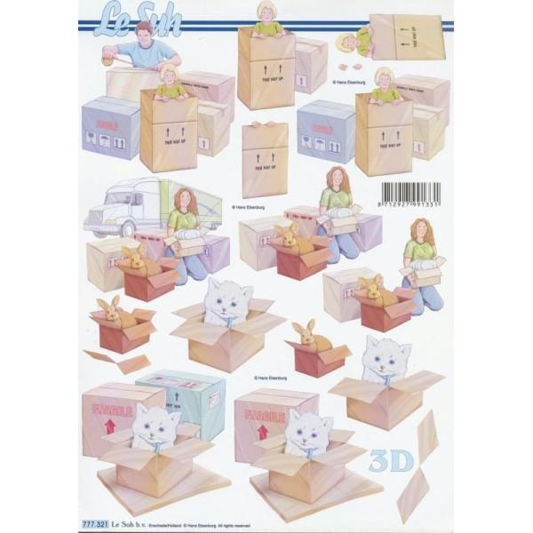 Feuille 3D à découper A4 Déménagement Cartons - Photo n°1