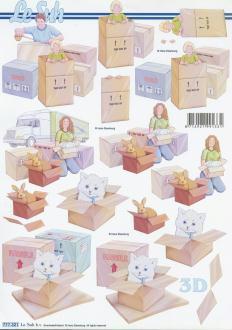 Feuille 3D à découper A4 Déménagement Cartons