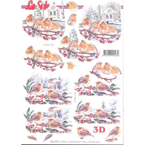 Feuille 3D à découper A4 Rouge-gorge Hiver - Photo n°1