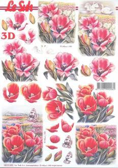 Feuille 3D à découper A4 fleurs Tulipes
