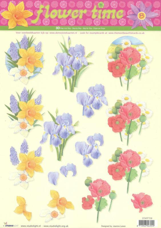 Feuille 3D à découper A4 Fleur Iris Coquelicot Narcisse - Photo n°1