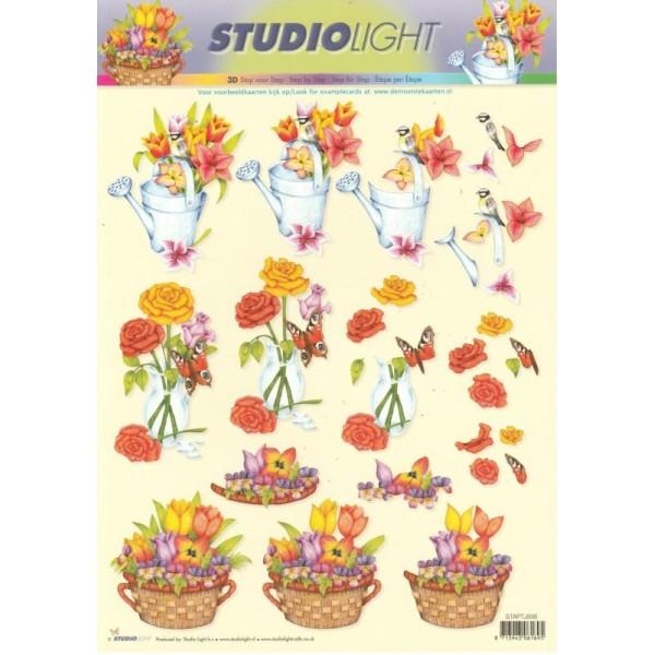 Feuille 3D à découper A4 Fleurs Roses Tulipes - Photo n°1